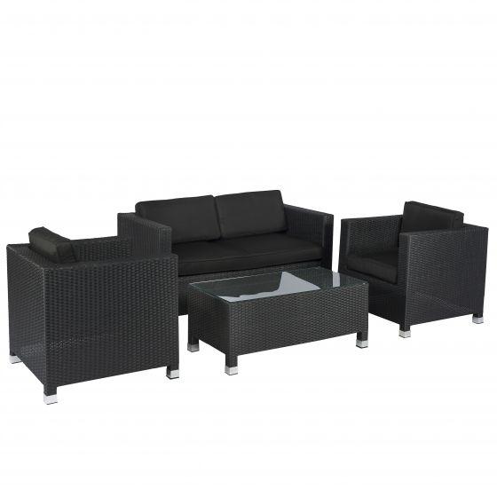 Sofagruppe-Polyrattan-Sitzecke-schwarz-