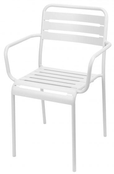 Stapelstuhl-Stahl-Weiß-mit-Armlehne