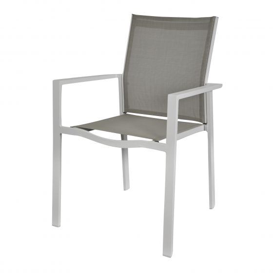Stapelstuhl-Aluminium-Taupe/Weiß