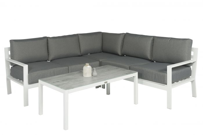 "Lounge Set Eckbank Aluminium ""Jakarta"" - Weiß/Grau - Pure ..."