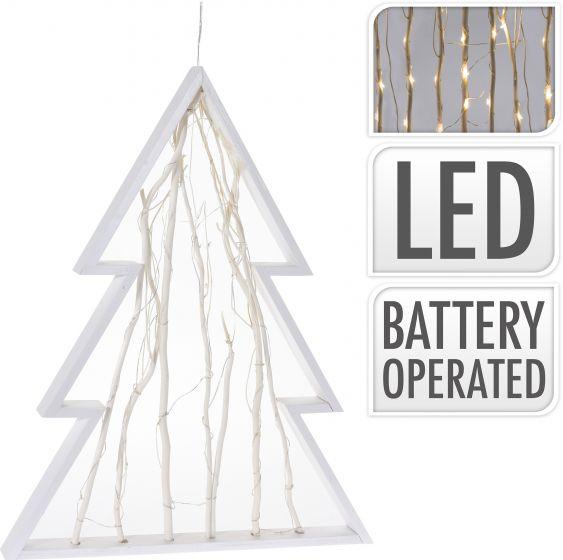 Weihnachtsbaum-48cm-Weißes-Holz-30-LEDs-batteriebetrieben