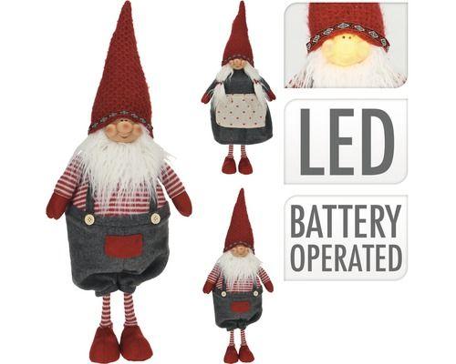 Gnome-met-LED-61-cm-Rood-/-Grijs
