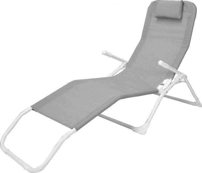 Siesta-Liegestuhl-Grau/Weiß-–-Textilen