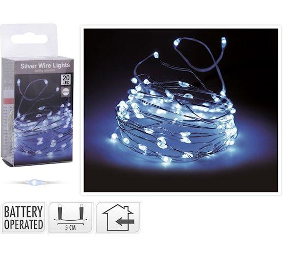 Batteriebeleuchtung-Silberdraht-LED-weiß