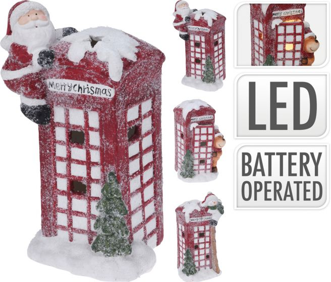 Decoratieve-Keramiek-Kerst-Telefooncel---31cm