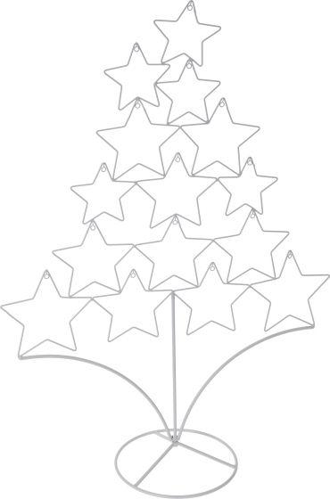 Sterren-Kerstboom-Metaal-Wit