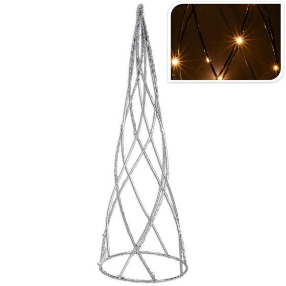 LED-Pyramide---Silber-–-Metall---60-cm