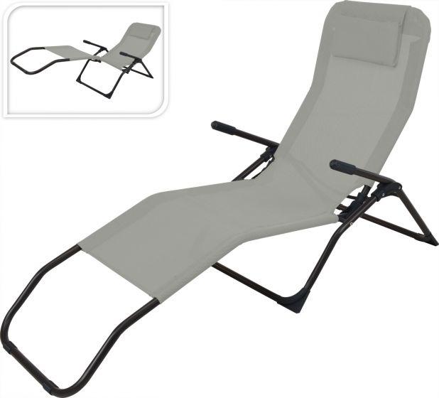 Siesta-Liegestuhl-Grau/Schwarz-–-Textilen