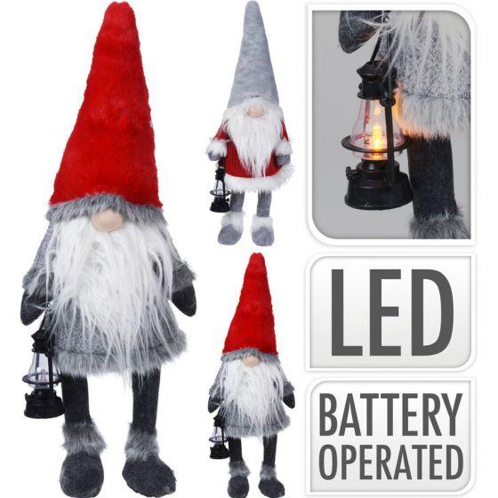 Gnome-met-LED-neus-84-cm-Rood-/-Grijs