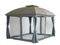 Barbados-Gartenpavillon-3x3,65-Meter-Taupe/grau-Pure-Garden-&-Living