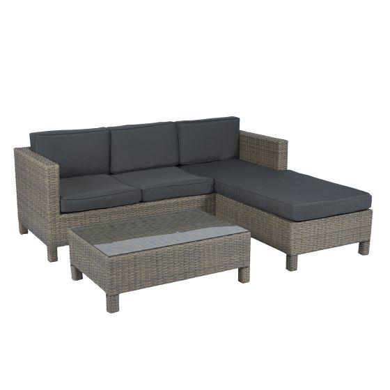 Lounge Set Polyrattan Ecksofa 3 Sitzer Grau Pure Garden Living