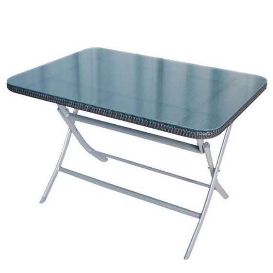 Klappbarer-Gartentisch-Wicker-/-Aluminium