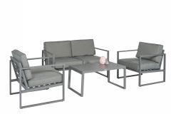 """Loungeset-Sitzecke-Aluminium-""""Dubai""""---Grau---Pure-Garden-&-Living"""