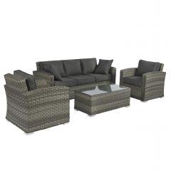"Loungeset Sofagruppe Polyrattan ""Cairo"" - Elegant grau - Pure Garden & Living"