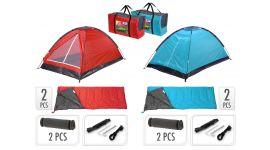 Campingset-inklusive-Zelt,-2-Schlafsäcke,-2-Schlafmatten-+-Tragetasche