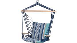 Hängesessel mit extrem gemütlichem 6cm dicken Sitzkissen aus Baumwolle und Armlehnen/Querstab aus Holz