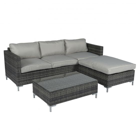Loungeset Ecksofa 3 Sitzer Polyrattan   Grau   Pure Garden U0026 Living