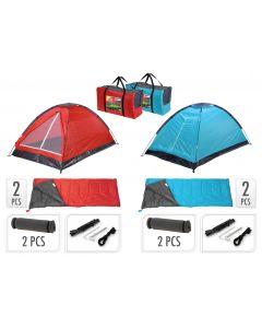 Campingset inklusive Zelt, 2 Schlafsäcke, 2 Schlafmatten + Tragetasche