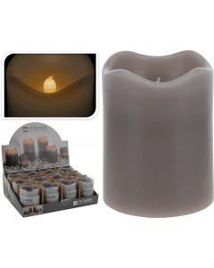 Kerze LED Timer 7x9 cm grau