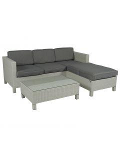 Loungemöbel Ecksofa 3-Sitzer Polyrattan Hellgrau - Pure Garden & Living