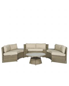 "Loungeset Eckkbank Polyrattan ""Honolulu"" - Nature - Pure Garden & Living"