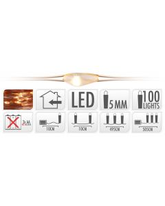 LED Beleuchtung 100 Lämpchen warm weiß