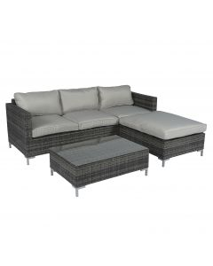 "Loungeset Ecksofa Polyrattan ""Chili"" mit Chaiselongue - grau - Pure Garden & Living"