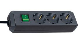 Brennenstuhl Eco-Line mit Schalter 3-fach schwarz